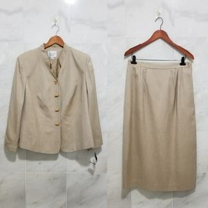 Le Suit Taupe Bamboo Button Two Piece Suit
